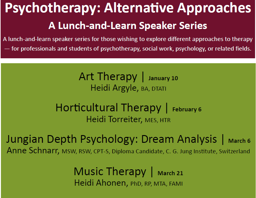 Poster for 2017 Lunch-and-Learn Speaker Series featuring Music Therapy: Alternative Approaches to Psychotherapy
